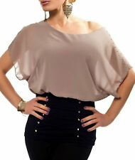 Sexy Damen Chiffon Pump Long Bluse Shirt Fledermaus 34/36/38 TOP schwarz braun