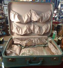 Sky-Flite VTG. Teal Suitcase Luggage Hard Shell No Key 50s 60s Travel