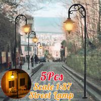 5x Maßstab 1:87 Modellbahn Laternenlampen LED Straßengarten Zug Lichter