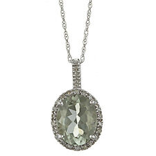 10 Quilates Oro Blanco 3.6cttw Ovalado Verde Amatista y Diamante Collar con