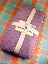 "Interiors By Design 10 Pack Terry Washcloths, Heather / Purple 13"" x 13"", NEW"