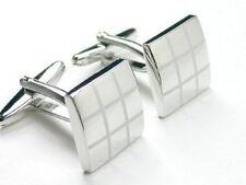 Polished Laser Engraved Checker cufflink cuff link C-02