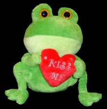 """Plush Fat Frog With Heart Ages 4+ Animal Adventure Inc Sitting Height 8""""   1066"""