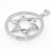 Star of David Round CZ Pendant Sterling Silver 925 35mm
