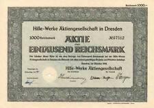 HILLE Werke AG Dresden Aktie 1941 Auto Dresdner Gasmotoren F Mikromat Düsseldorf