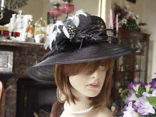 SCALA CLASSICALLY STYLISH BLACK  HAT WITH FEATHERS -  New