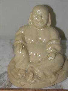 VINTAGE ASIAN GLAZED POTTERY YELLOW STATUE  SEATED BUDDHA SIGNED J. FRAPE 1941
