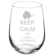 17oz Stemless Wine Glass Keep Calm and Love Elephants