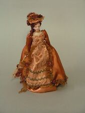 DOLLS HOUSE DOLL 1/12th SCAL VICTORIAN LADY IN BRONZE/COPPER  SATIN GOWN