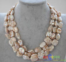 p3497 3row 20mm pink baroque keshi reborn pearl necklace mabe clasp