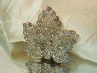Sparkly Vintage 40's Deco Rhinestone Filigree Leaf Dress Clip As Is 563JL8