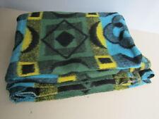 "Vintage Blue Green Yellow Woolly Knit Fleece Throw Blanket Bedspread 58"" x 70"""