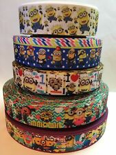 "5 Yards 7/8"",1"" Minions Mix Lot Grosgrain Ribbon Hair Bow Supplies."