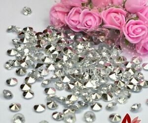 4.5, 6, 8 & 10MM SILVER & CLEAR WEDDING TABLE CONFETTI DIAMONDS SCATTER CRYSTALS