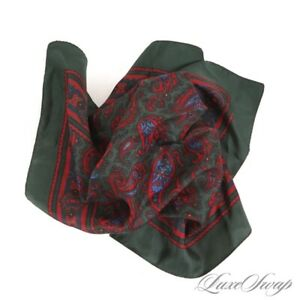 Anonymous Made in England Green Madder Foulard Silk Paisley Pocket Square NR #2