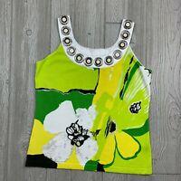 Berek Womens Size (L) Sleeveless Blouse w/ Bright Green & Yellow Floral Print