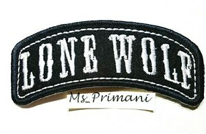 Embroidered Lone Wolf Rocker Patch Sew/Iron on Motorcycle Racer Biker Hat Badge
