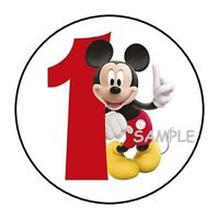 30 Mickey Mouse First Birthday Party Stickers 1st round labels favors 1.5""