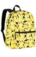 "Bioworld *POKEMON* 16"" Printed School Backpack Book Bag Pikachu Yellow Black NWT"