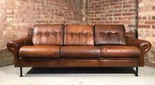 Retro Danish 1970 Straps Three Seater  Hand Dyed Tan coloured  Leather Sofa