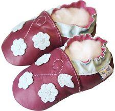 Littleoneshoes(Jinwood) Soft Sole Leather Baby Infant FlowerBurgundy Shoe 6-12M