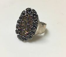 Titanium Druzy Sterling Ring RAINBOW Roses Wide Band Signed 925 Silver PZ Israel