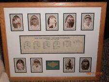 NEW YORK YANKEES FRAMED & MATTED TRIBUTE 1927 W.S CHAMPS BOX SCORES Ruth Gehrig