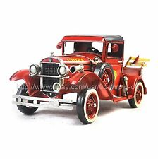 Handmade 1931 Red Fire Truck 1:12 Tinplate Antique Style Metal Model