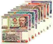 PERU 9 NOTE SET 10 to 100000 Intis 1981-88 UNC