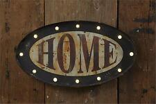 Primitive new oval LED lighted oval tin HOME wall sign / nice