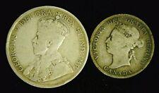(2) CANADA SILVER COINS - 1918 50c & 1888 VICTORIA 25c   (8956)