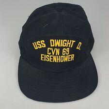 Vintage USS Dwight D Eisenhower CVN 69 Navy Baseball Cap, Made in USA c11