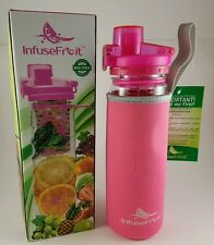 Infuser Water Bottle Unique Full Length Infuser & Insulating Sleeve 25oz Pink