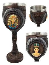 Egyptian Pharaoh King Tut & Queen Nefertiti Wine Goblet Chalice 6oz Nile Dynasty
