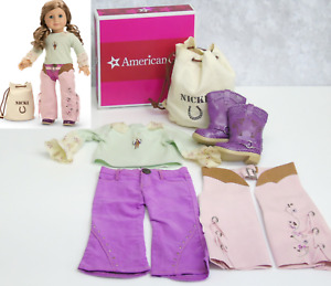 American Girl Doll Clothes NICKI RANCH OUTFIT Boots Horse Riding Chaps Top BOX!
