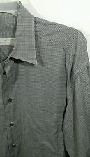 ERMENEGILDO ZEGNA Long Sleeve Button Front Shirt in WHITE/BLACK - Mens LARGE