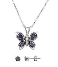 Rainbow Colored Topaz Butterfly .925 Sterling Silver Earrings & Pendant Set