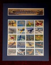 8 X 10 MATTED SHEET OF 20 NEW STAMPS OF AMERICAN AIRCRAFT - THE FIRST 50 YEARS