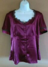 Chadwick's Top 16 Burgundy Satin Lace Trim Feminine Button Up Shirt Blouse XL