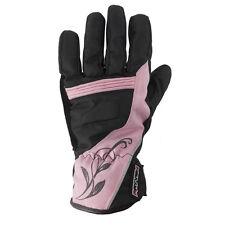 Rayven Diamond Ladies Leather Waterproof Motorbike Motorcycle Gloves Velcro Pink