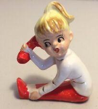 50's Girl on Telephone Figurine Cake Topper Porcelain Ceramic Blonde Ponytail
