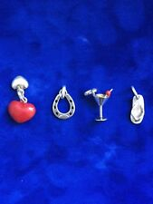 LINKS OF LONDON 4 CHARMS: 2 HEARTS,SANDAL SHOE,HORSE SHOE,COCKTAIL GLASS CHERRY