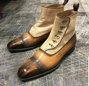 New Handmade Pure Tan Shaded & Beige Leather & Suede Button Boots for Men's