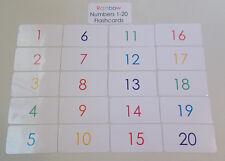 20 Laminated Rainbow Numbers Flashcards.  Preschool-Kindergarten Numbers 1-20.