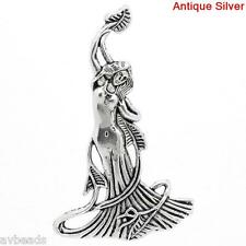 10pcs Gaia Goddess Charms Pendants Halloween Antique Silver 6.8x4.2cm AVBeads