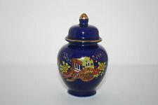 Vtg Japan Hand Decorated Miniature Cobalt Blue Porcelain Ginger Jar Cart Floral