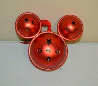 DISNEY PARK MICKEY MOUSE EARS JINGLE BELL RED METAL CHRISTMAS ORNAMENT USED