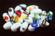 30ps Vintage Rhombus Glass White Millefiori Beads Spacer Finding 7.5x16mm Charms