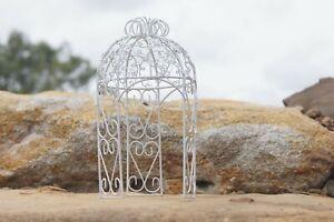 Metal Mini White Gazebo fairy garden Decoration Collectible