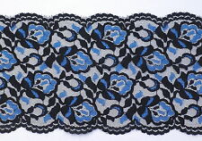 3 Metres length of black & blue double edge lace Approx.150m (15cm) wide